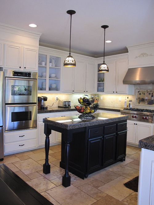 Black hardware white cabinets houzz for Traditional kitchen appliances