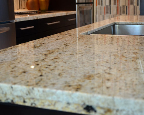 Colonial cream granite houzz for Examples of granite countertops in kitchens