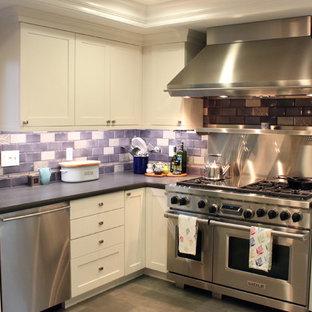 サンフランシスコのエクレクティックスタイルのおしゃれなキッチン (シルバーの調理設備の、アンダーカウンターシンク、シェーカースタイル扉のキャビネット、白いキャビネット、マルチカラーのキッチンパネル、サブウェイタイルのキッチンパネル) の写真
