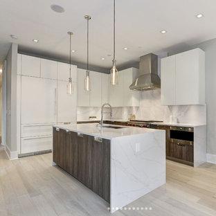 ワシントンD.C.の中サイズのモダンスタイルのおしゃれなキッチン (アンダーカウンターシンク、フラットパネル扉のキャビネット、白いキャビネット、大理石カウンター、白いキッチンパネル、大理石の床、シルバーの調理設備の、淡色無垢フローリング、ベージュの床) の写真