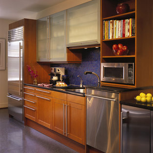 Modern kitchen ideas - Kitchen - modern kitchen idea in DC Metro with mosaic tile backsplash, stainless steel appliances and blue backsplash