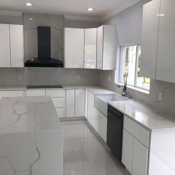 Kitchen Remodel with High Gloss Cabinets and Quartz