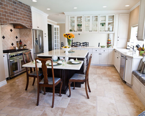 Example Of A Classic Eat In Kitchen Design In Los Angeles With Glass Front Part 84
