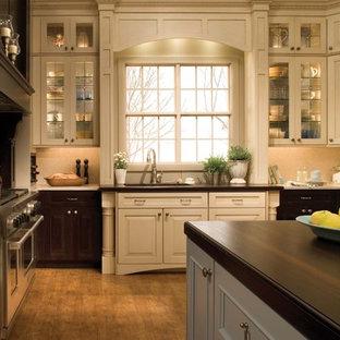 Пример оригинального дизайна: кухня в классическом стиле с техникой из нержавеющей стали