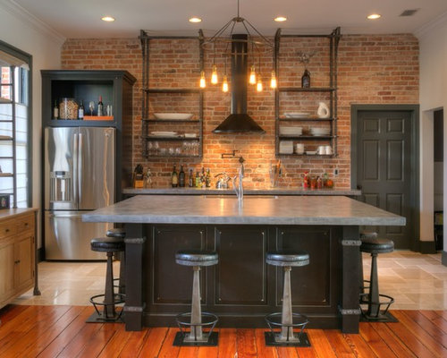 Cucina con ante marroni e top in cemento foto e idee per