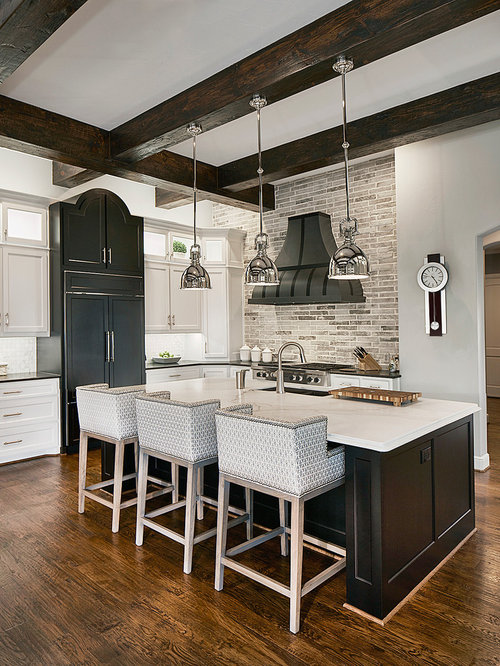 Transitional Kitchen Ideas   Kitchen   Transitional L Shaped Dark Wood  Floor Kitchen Idea In
