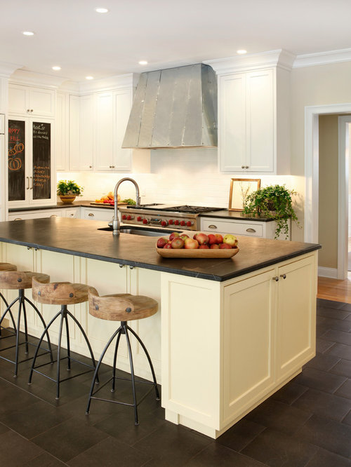 Large transitional l-shaped eat-in kitchen photo in New York with an undermount & Counter Stools | Houzz islam-shia.org