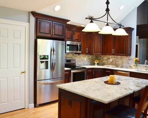 Kitchen design ideas renovations photos with dark wood cabinets and quartzite benchtops Kitchen design brookfield ct
