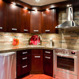 This is an example of a mid-sized contemporary l-shaped separate kitchen in Other with a double-bowl sink, flat-panel cabinets, dark wood cabinets, granite benchtops, multi-coloured splashback, slate splashback, stainless steel appliances, medium hardwood floors, with island, brown floor and grey benchtop.