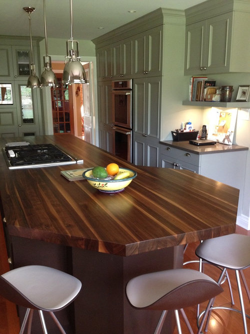 Traditional Kitchen Idea In Other With Green Cabinets, Recessed Panel  Cabinets And Wood Countertops