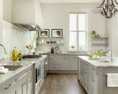 Light grey kitchen cabinet houzz for Kitchen ideas light grey