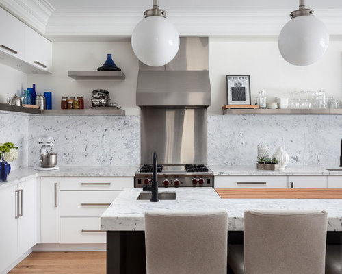 Inspiration For A Contemporary L Shaped Kitchen Remodel In Toronto With White Backsplash An