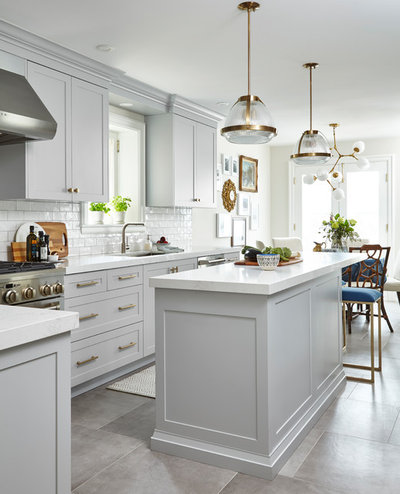 Transitional Kitchen by Orsi Panos Interiors