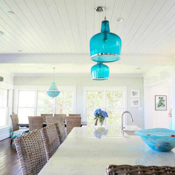 Teal, Wicker & White Kitchen | Arnold, MD