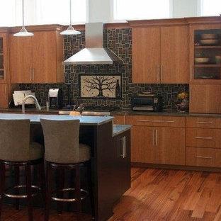 シカゴの大きいシャビーシック調のおしゃれなキッチン (フラットパネル扉のキャビネット、中間色木目調キャビネット、黒いキッチンパネル、シルバーの調理設備の、無垢フローリング) の写真
