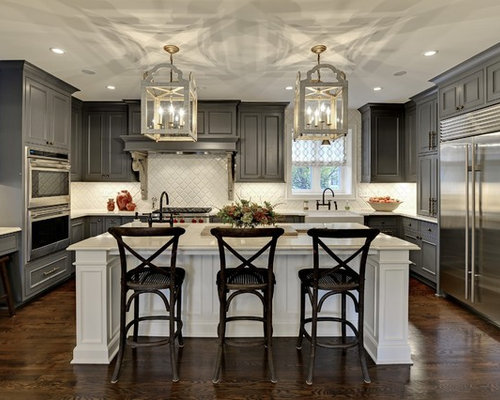 large elegant u shaped eat in kitchen photo in minneapolis with gray cabinets. Interior Design Ideas. Home Design Ideas