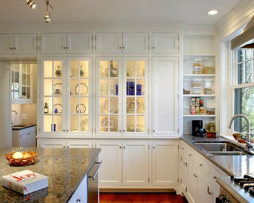 Inspiration For A Timeless Kitchen Remodel In Cincinnati With Glass Front  Cabinets And Granite Countertops