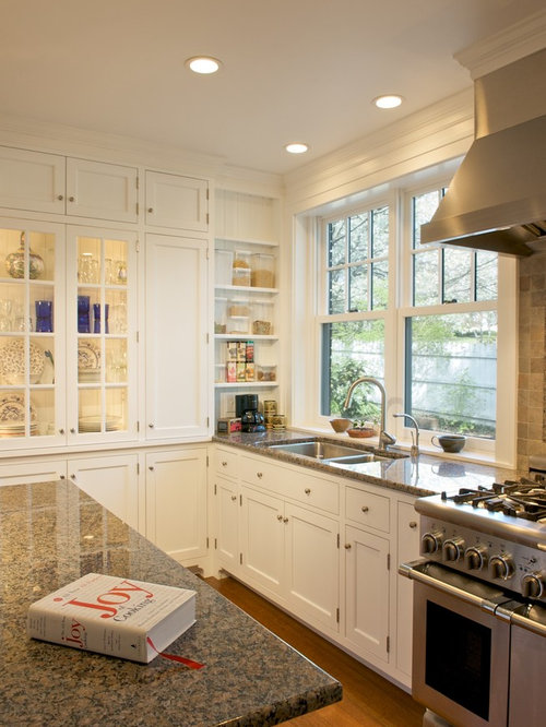 Elegant kitchen photo in Cincinnati with glass front cabinets  stainless  steel appliances and graniteBrown And White Kitchen   Houzz. White And Brown Kitchen Designs. Home Design Ideas