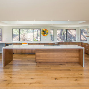 Inspiration for a large midcentury u-shaped open plan kitchen in San Diego with medium wood cabinets, white splashback, stainless steel appliances, light hardwood floors and with island.
