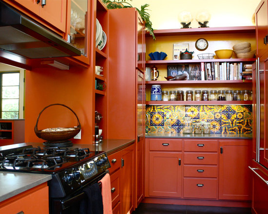 orange kitchen cabinets | houzz