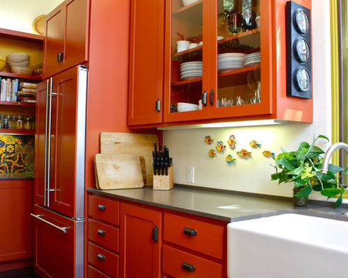 orange kitchen | houzz