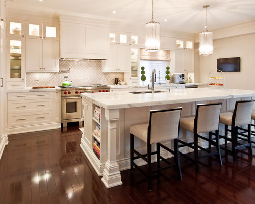 Inspiration For A Transitional Kitchen Remodel In Toronto With  Recessed Panel Cabinets, Paneled Appliances