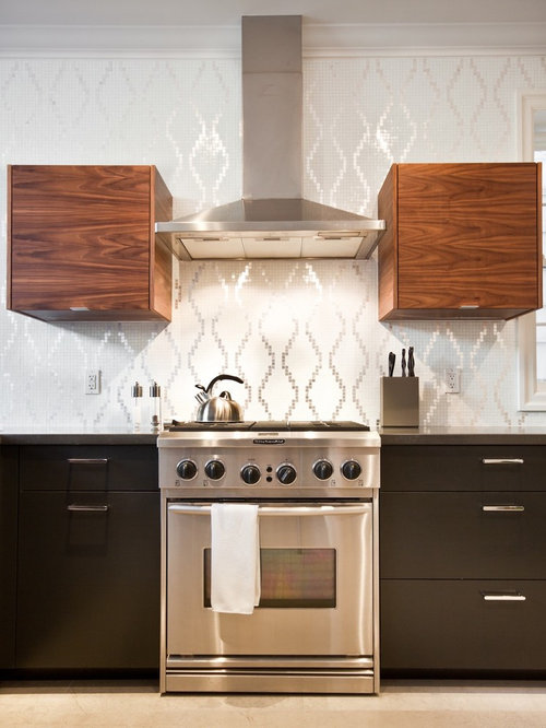 Example Of A Minimalist Kitchen Design In Toronto With Flat Panel Cabinets Brown Cabinets