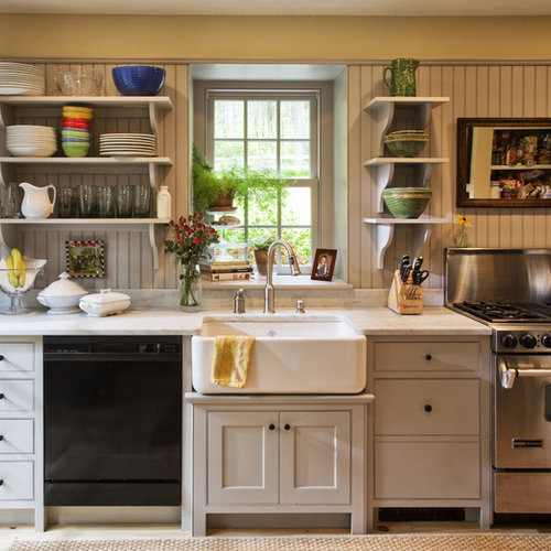 inspiration for a timeless singlewall kitchen remodel in with a farmhouse sink