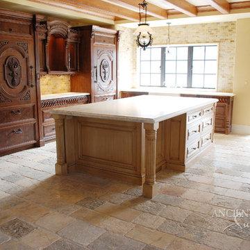Kitchen Stone Floors Mediterranean  Style