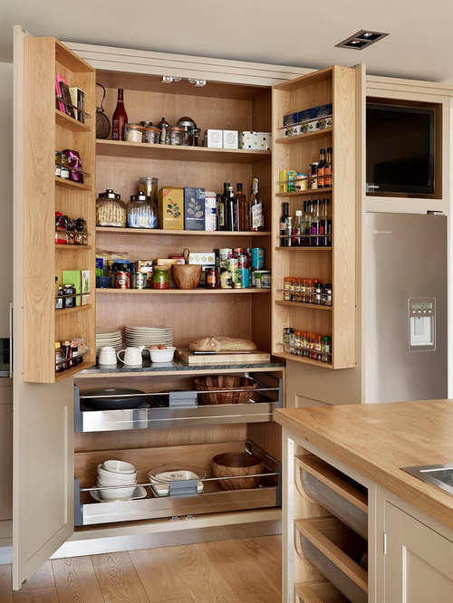 ... London with flat-panel cabinets, beige cabinets and wood countertops