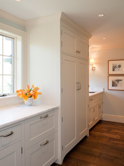 kitchen photo in boston with shaker cabinets and white cabinets