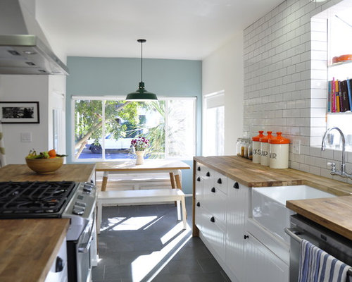 Mid Sized Contemporary Galley Ceramic Floor Eat In Kitchen Idea In Los  Angeles With