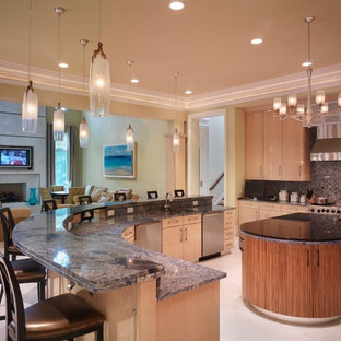Example of a trendy kitchen design in Charlotte with stainless steel appliances