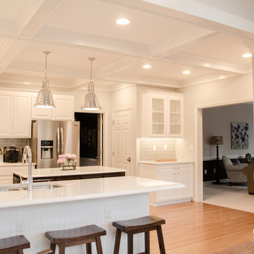 Kitchen total makeover with cabinet refinishing & coffered ceiling