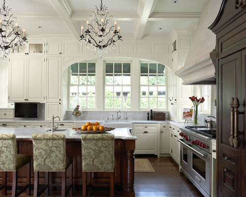 Elegant Kitchen Photo In Minneapolis With A Farmhouse Sink, Raised Panel  Cabinets, White