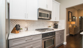 Kitchen | Two-Tone Cabinets | Cambria Quartz | Arabesque Marble Backsplash