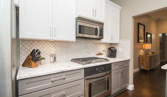Kitchen | Two-Tone Cabinets | Cambria Quartz | Arabesque Marble Backsplash