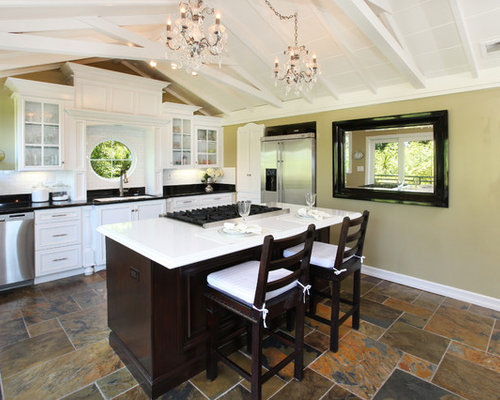 Slate Kitchen Floors Houzz - Dark Kitchen Cabinets With Black Appliances