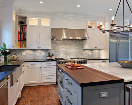Contemporary Kitchen Inspiration   Kitchen   Contemporary Kitchen Idea In  Chicago With A Farmhouse Sink Good Looking