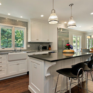 Traditional kitchen appliance - Elegant kitchen photo in Chicago with subway tile backsplash, a farmhouse sink and stainless steel appliances