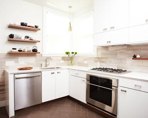 large tile backsplash kitchen