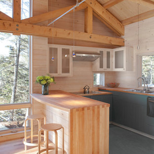 Open concept kitchen - rustic u-shaped open concept kitchen idea in Portland Maine with stainless steel appliances, a drop-in sink, blue cabinets, wood countertops and multicolored backsplash