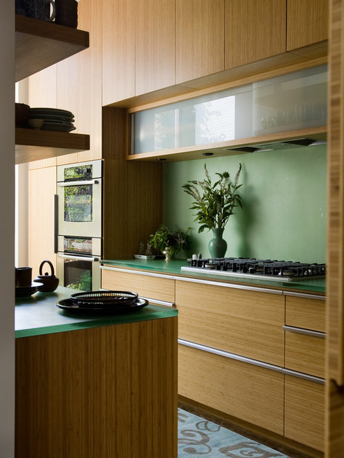 Trendy Galley Kitchen Photo In Birmingham With Flat Panel Cabinets, Light  Wood Cabinets And