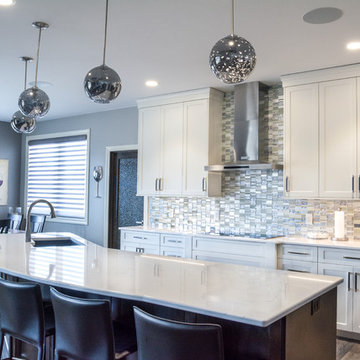 Kitchen With Beautiful White Cambria Quartz Countertops