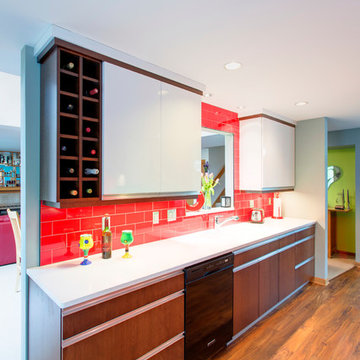 Kitchen with built in wine cubbies