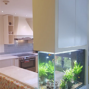 Kitchen with family area attached, aquarium and more