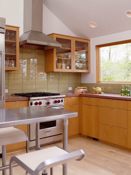 Minimalist L Shaped Kitchen Photo In Portland With Glass Front Cabinets,  Medium Tone Part 83