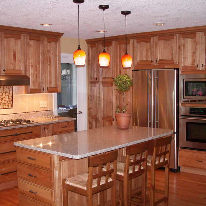 Kitchen with glazed cabinets