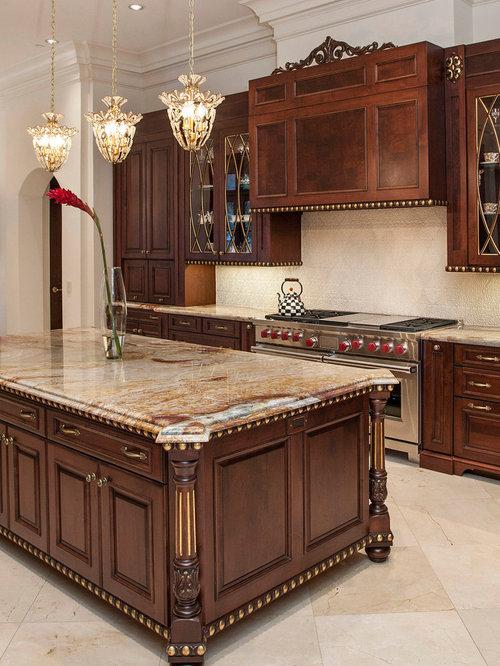 Large Elegant U Shaped Beige Floor Eat In Kitchen Photo In Houston With  Raised