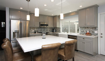 Kitchen with gray cabinets & Cambria countertops